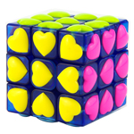 YongJun Heart Tiled 3x3x3 Magic Cube Puzzle Transparent Blue