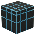 Mir-two 3x3x3 Mirror Block Carbon Fibre Stickered Magic Cube Blue