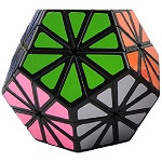 QJ Pyraminx Crystal Megaminx Stickered Magic Cube Black