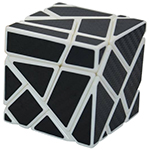Fang Cun 3x3x3 Ghost Cube Black Carbon Fibre Stickered White
