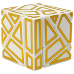 FangCun 3x3x3 Ghost Cube Hollow Golden Stickered White