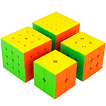 Cubing Classroom 4 in 1 2x2 3x3 4x4 5x5 Stickerless Cubes Packing