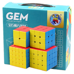 ShengShou Gem 4 Magic Cubes Bundle - 2x2 3x3 4x4 5x5 Stickerless Cube