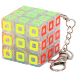 Zcube Pierced 3x3x3 Magic Cube Keychain Transparent