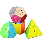 QiYi 4 in 1 Pyraminx Skewb Mastermorphix Megaminx Stickerless Cubes Packing