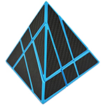 CB Gemini Pyraminx Cube Blue Body Black Carbon Fibre Sticker...