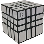 JuMo 4x4x4 Mirror Block Magic Cube Puzzle Silvery Stickered Black