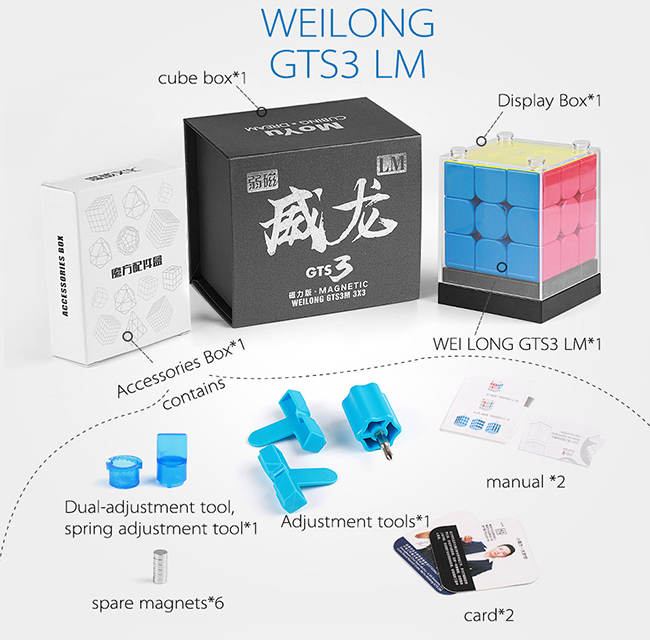 MoYu Weilong GTS3 LM 3x3x3 Magnetic Speed Cube Stickerless