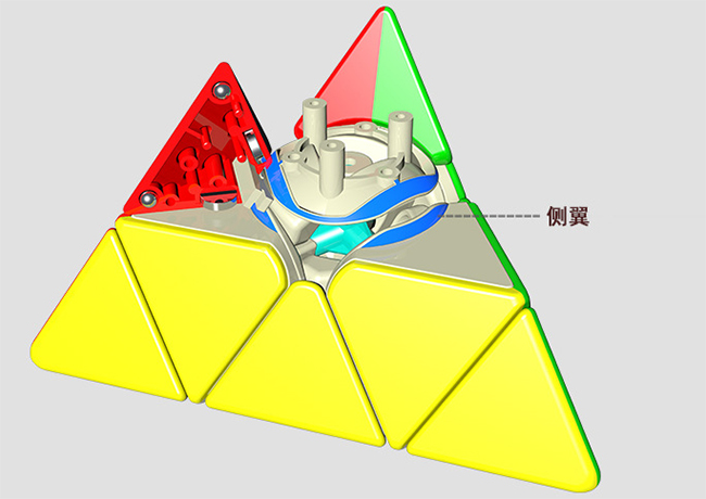 YuXin HuangLong M Magnetic Pyraminx Speed Cube Stickerless Light Red Version